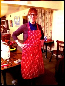 Sew apron red polka dot